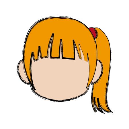 Chibi anime girl avatar contorno por defecto ilustración vectorial Foto de archivo - 80833444