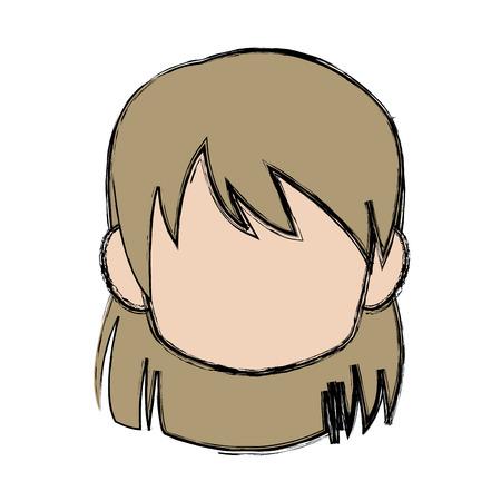 Chibi anime girl avatar contorno por defecto ilustración vectorial Foto de archivo - 80833445