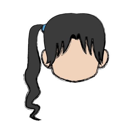 Chibi anime girl avatar contorno por defecto ilustración vectorial Foto de archivo - 80833446