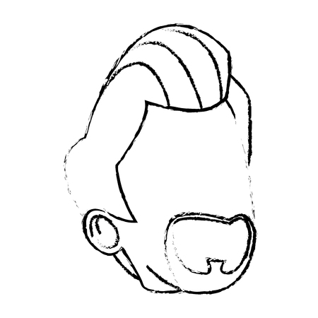 front view: cartoon portrait head man male character vector illustration