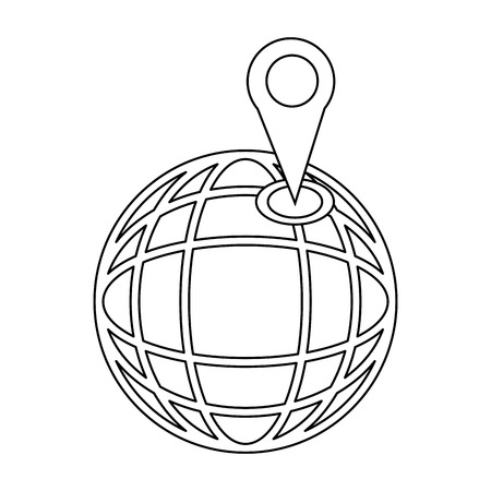 country: Location on globe. Pin on globe. Simple black icon