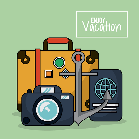 flotation: colorful poster of enjoy vacation with luggage and photo camera and passport and anchor vector illustration Illustration