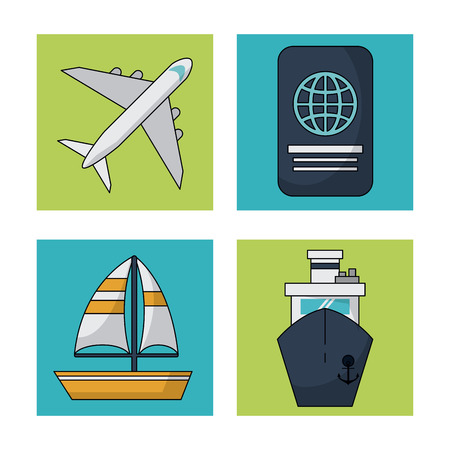 beach sunset: white background with colorful squares with traveling icons vector illustration