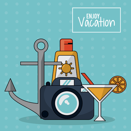 beach sunset: colorful poster of enjoy vacation with photo camera and cocktail and sunblock and anchor vector illustration Illustration