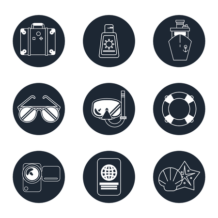 flotation: monochrome icons set of beach vacation in round frames vector illustration