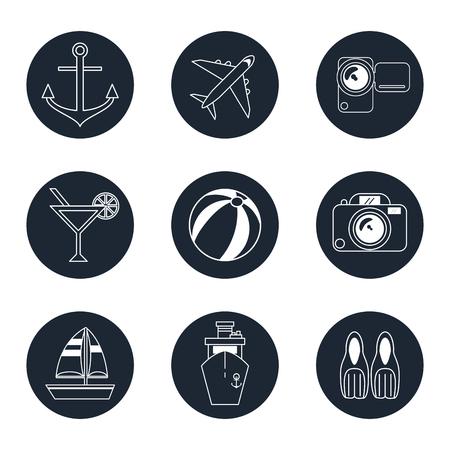 flotation: monochrome icons travel set in round frames vector illustration Illustration