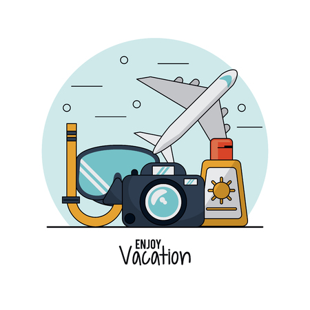 flotation: white background of enjoy vacation with snorkel and airplane and sunblock and photo camera vector illustration Illustration