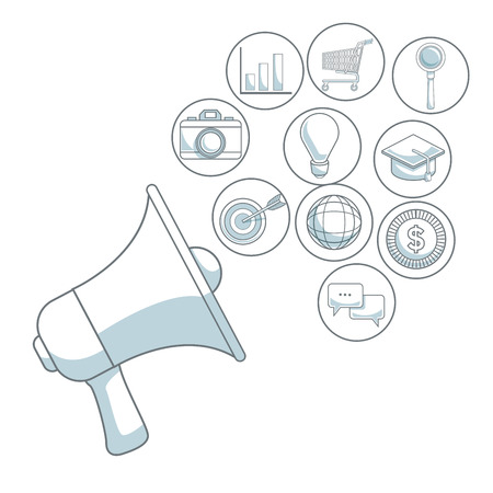 white background with color sections of closeup megaphone of diffusion icons digital marketing vector illustration Illustration