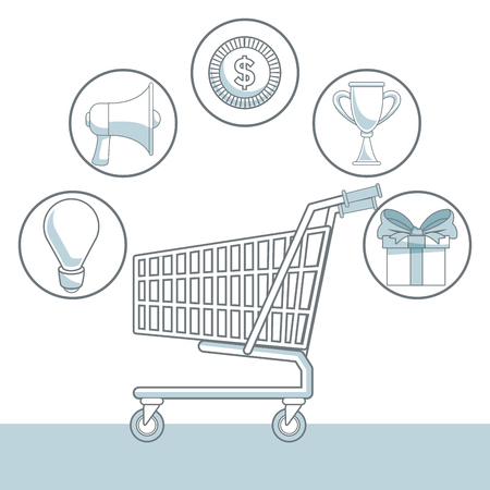 commerce: white background with color sections of shopping cart and icons element marketing vector illustration