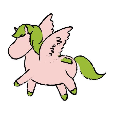 A cute and beautiful pegasus horse fantasy vector illustration.