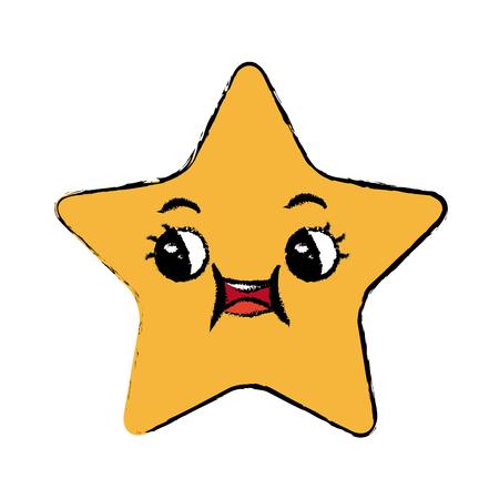 Une étoile de kawaii cartoon illustration vectorielle d'expression faciale mignonne. Banque d'images - 80861604