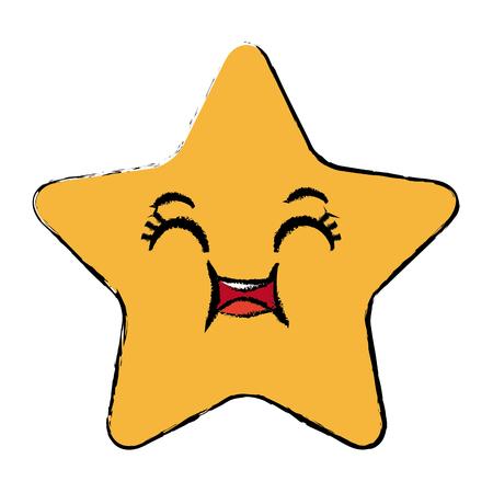 かわいい星漫画かわいい表情のベクトル図