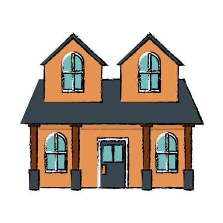 front house: house home classic real estate exterior vector illustration