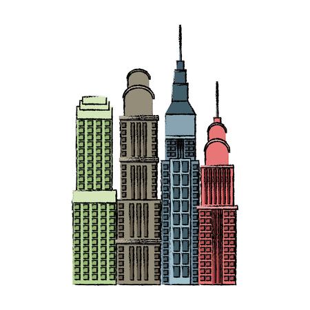 buildings skyscrapers high business skyline vector illustration