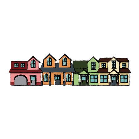 Neighborhood residential building suburban home vector illustration