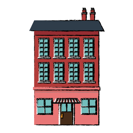 commerce: nice city building three-storey street cafe or shop vector illustration