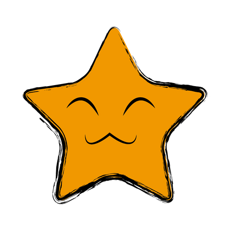 Kawaii star dessin animé mignon expression faciale expression vectorielle Banque d'images - 80837047