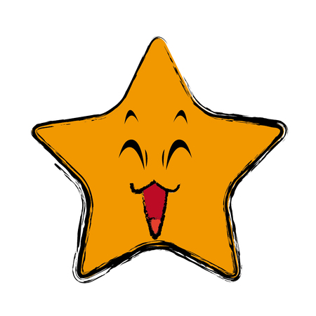 tease: kawaii star cartoon cute facial expression vector illustration