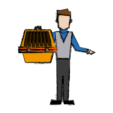 dog: man holding pet carrying box transport image vector illustration