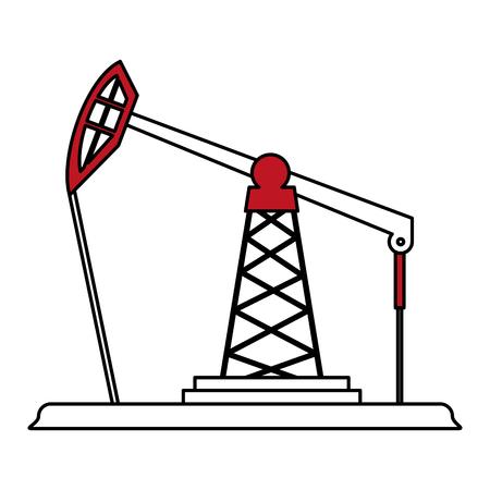 Flat line oil platform over white background vector illustration Illustration