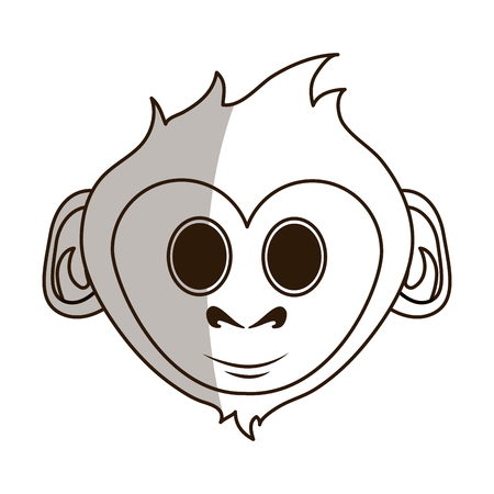 Flat line monocromatic smiling monkey over white background vector illustration