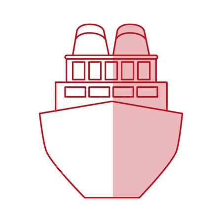Flat line monocromatic cargo ship over white background vector illustration