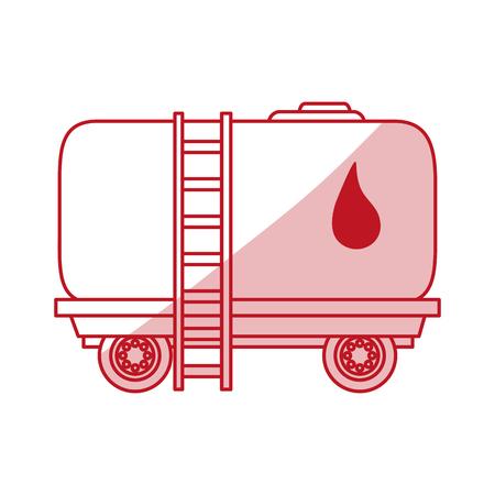 Flat line monocromatic oil cargo vehicle over white background vector illustration Illustration