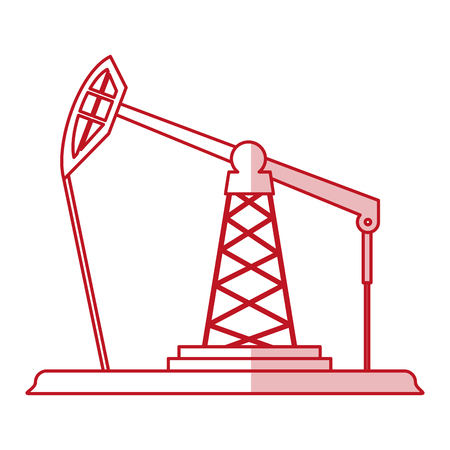 Flat line monocromatic oil platform over white background vector illustration