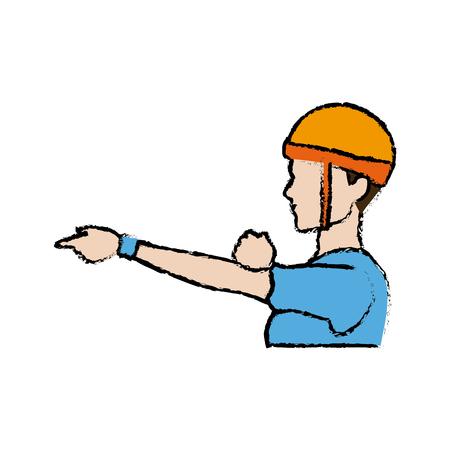 portrait sport man climber helmet protection vector illustration Illustration