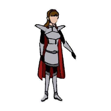 cartoon warrior princess woman in costume with armor vector illustration Illustration