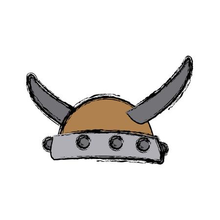 Viking horned helmet ancient costume vector illustration