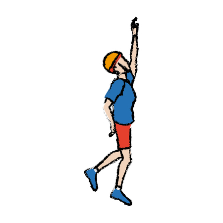 Portrait of young man climbing gesture vector illustration Çizim