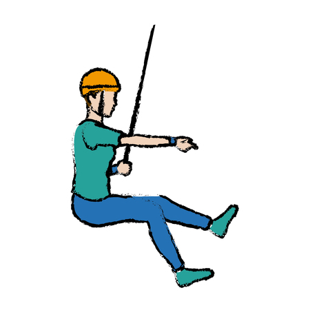Young male climber hanging on a rope vector illustration Illustration