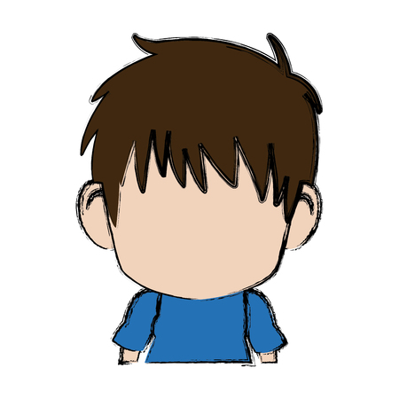 Blurred thin silhouette of little boy vector illustration