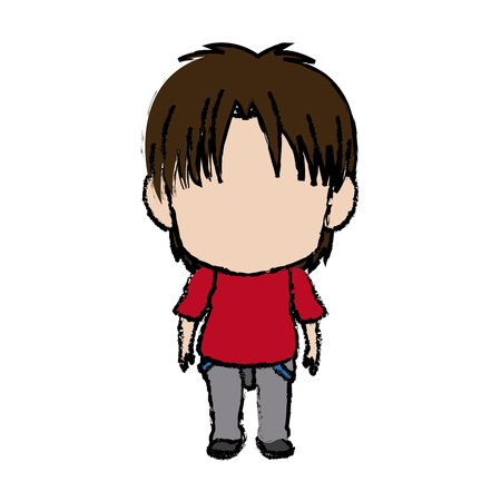 Blurred thin silhouette of anime little boy vector illustration