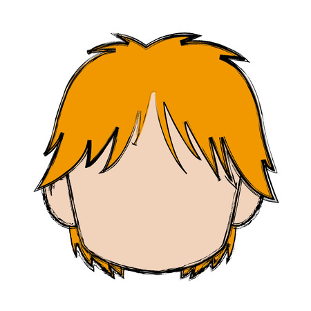 Blurred Boy Of Faceless Head Little Kid Anime With Haircut Style Vector Illustration Stock