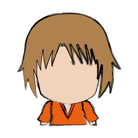 Blurred thin silhouette of anime little boy vector illustration.