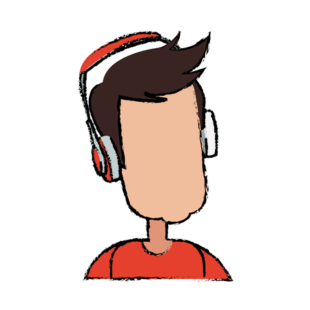 Young man cartoon user headphones device vector illustration