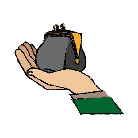 A hand of a businessman holding open money purse image vector illustration. Illustration