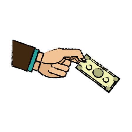 A hand business man holding banknote money image vector illustration.