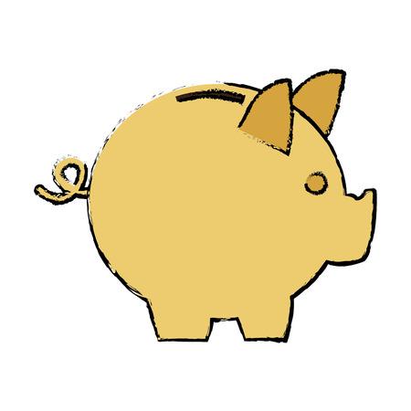 moneybox piggy safe deposit banking vector illustration