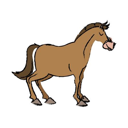 Horse domestic animal farming agricultural vector illustration Illustration