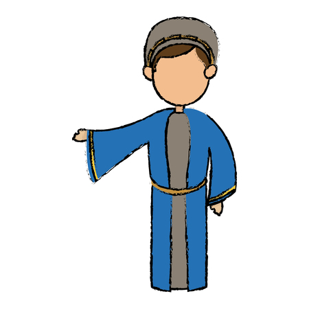catholicism: cute cartoon joseph father manger image vector illustration