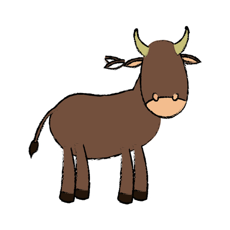 ox cute cartoon manger animal image vector illustration