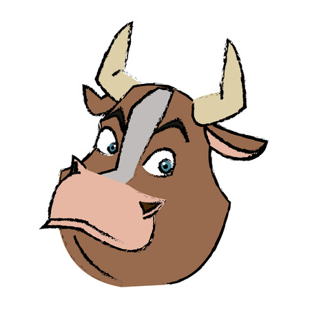 domesticated: cartoon funny bull horn farm animal vector illustration Illustration