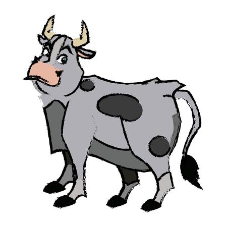 Cartone animato divertente bull horn fattoria animale illustrazione vettoriale Archivio Fotografico - 80907677