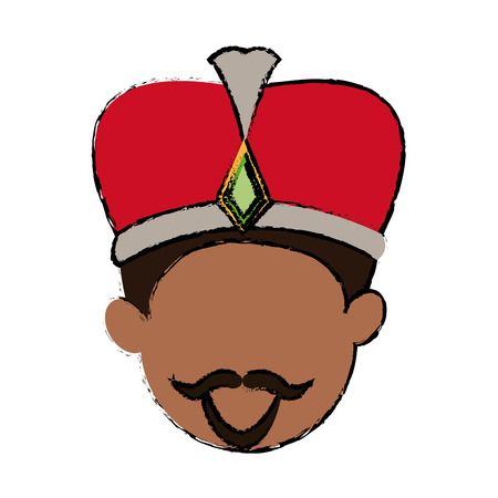 balthazar: Cute cartoon wise king manger character vector illustration.
