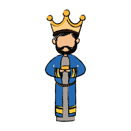 cute cartoon wise king manger character vector illustration Vektorové ilustrace