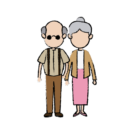 Cute couple the grandparents holding hands vector illustration