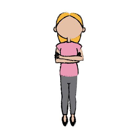 arms folded: cartoon girl female character folded arms vector illustration